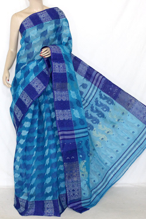 Pherozi Blue Handwoven Bengali Tant Cotton Saree (Without Blouse) Jamdani 14295
