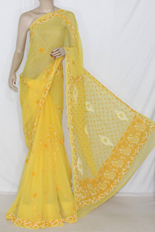 Golden Yellow Hand Embroidered Lucknowi Chikankari Saree (With Blouse - Georgette) 14308