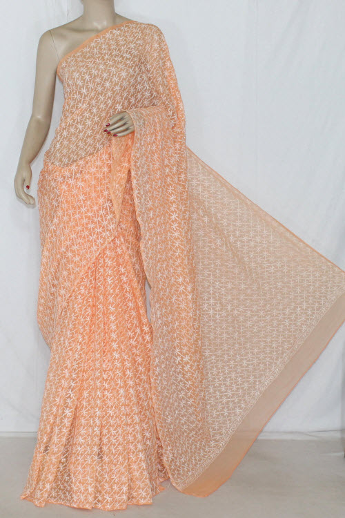 Light Orange Allover Tepchi Work Hand Embroidered Lucknowi Chikankari Saree (With Blouse - Georgette) 14317
