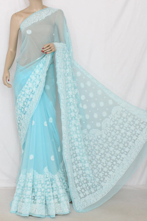 Sky Blue Hand Embroidered Lucknowi Chikankari Saree  (With Blouse - Georgette) 14341