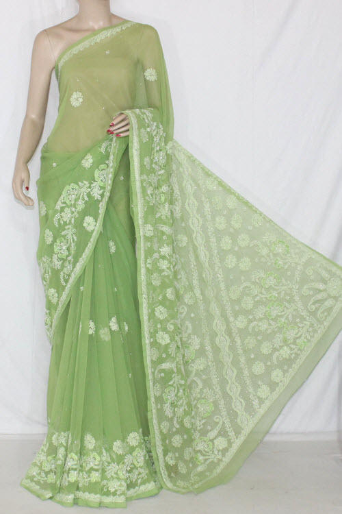 Menhdi Green Hand Embroidered Lucknowi Chikankari Saree with Mukaish Work (With Blouse - Georgette) 14346