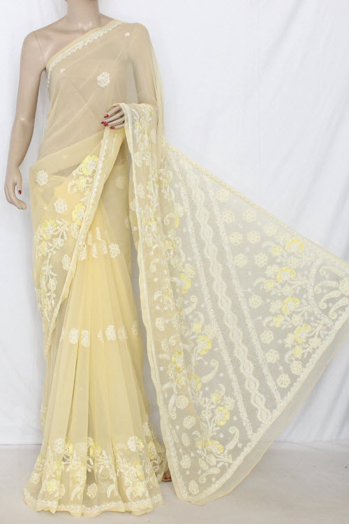 Light Yellow Hand Embroidered Lucknowi Chikankari Saree with Mukaish Work (With Blouse - Georgette) 14347