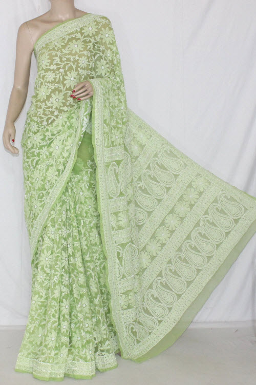 Pista Green Allover Hand Embroidered Lucknowi Chikankari Saree  (With Blouse - Georgette) 14356
