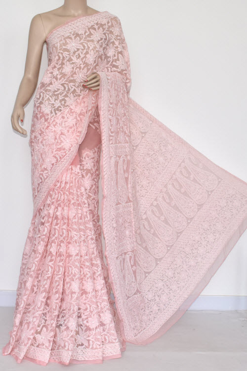 Light Peach Allover Hand Embroidered Lucknowi Chikankari Saree (With Blouse - Georgette) 14365