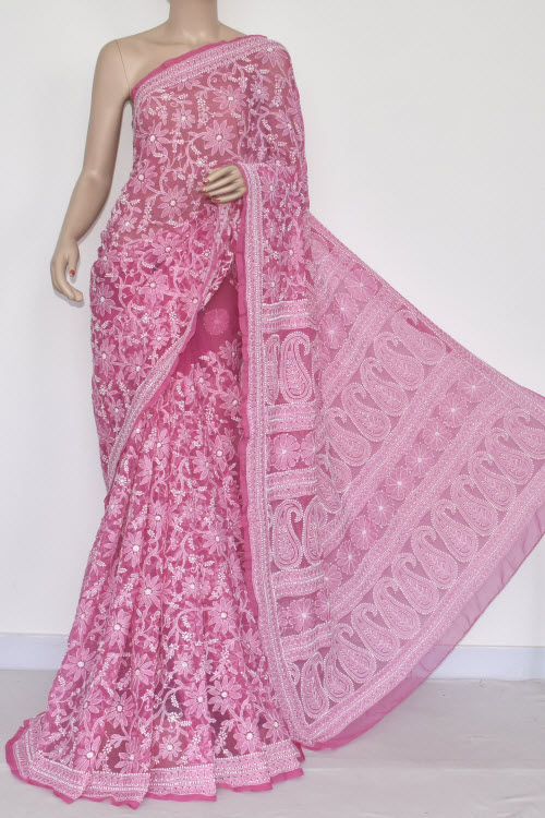 Dark Onion Allover Hand Embroidered Lucknowi Chikankari Saree (With Blouse - Georgette) 14366