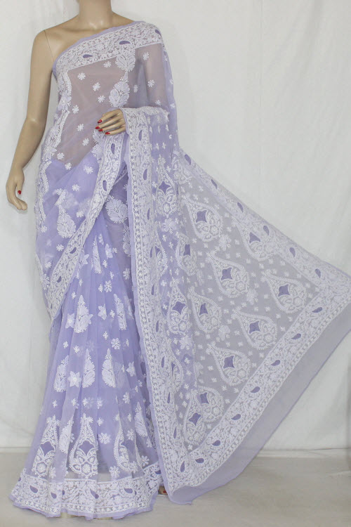 Lavender Hand Embroidered Lucknowi Chikankari Saree (With Blouse - Georgette) 14394