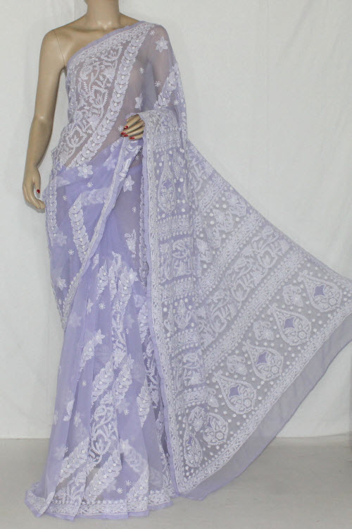 Lavender Hand Embroidered Lucknowi Chikankari Saree (With Blouse - Georgette) 14396