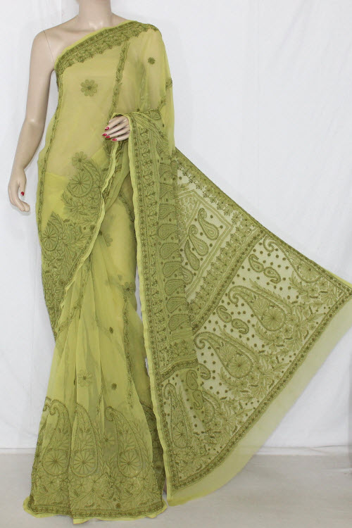 Menhdi Green Hand Embroidered Lucknowi Chikankari Saree (With Blouse - Georgette) 14398