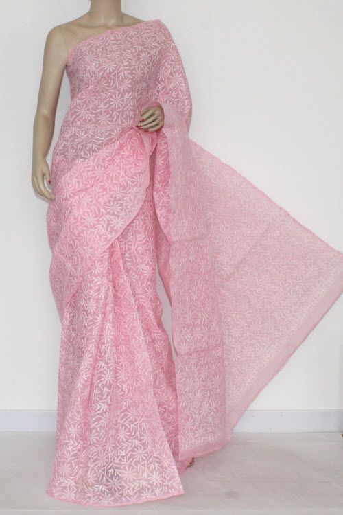 Pink Hand Embroidered Allover Tepchi Work Lucknowi Chikankari Saree (With Blouse - Cotton) 14405