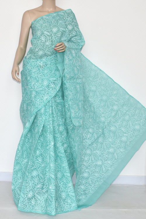 Sea Green Hand Embroidered Lucknowi Chikankari Saree (With Blouse - Cotton) Allover Tepchi Work 14406