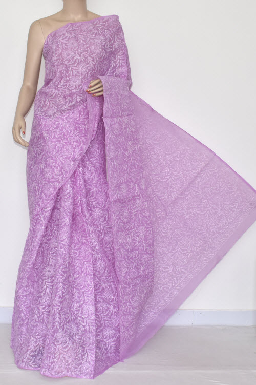Light Purple Hand Embroidered Lucknowi Chikankari Saree (With Blouse - Cotton) Allover Tepchi Work 14407
