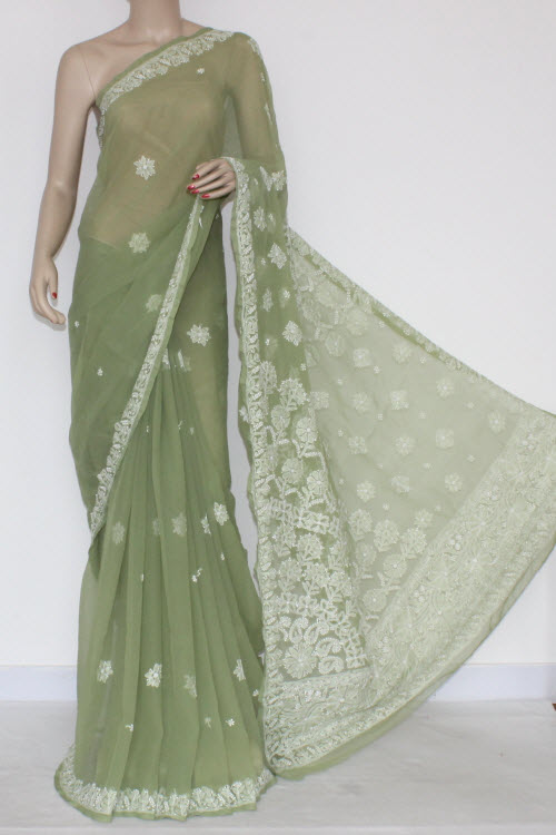 Pista Green Hand Embroidered Lucknowi Chikankari Saree (With Blouse - Georgette) 14408