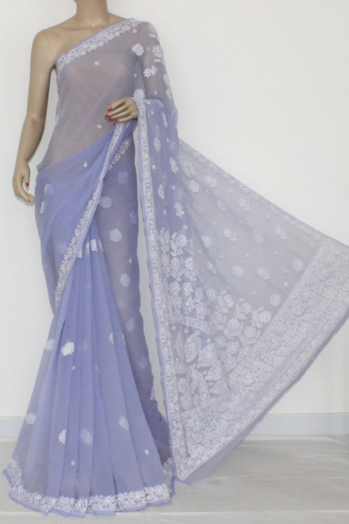 Lavender Embroidered Lucknowi Chikankari Saree (With Blouse - Georgette) 14410