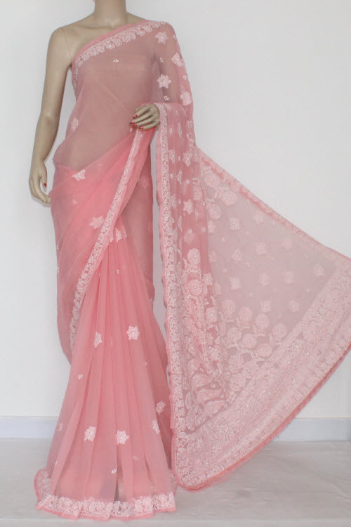 Peach Color Hand Embroidered Lucknowi Chikankari Saree (With Blouse - Georgette) 14411