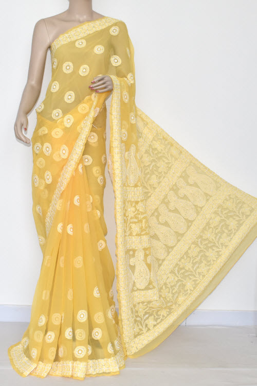 Golden Yellow Hand Embroidered Lucknowi Chikankari Saree (With Blouse - Georgette) 14416