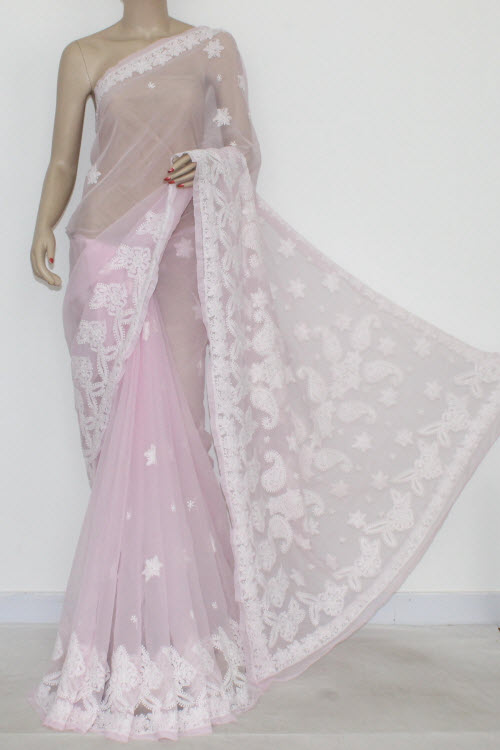 Baby Pink Hand Embroidered Lucknowi Chikankari Saree (With Blouse - Georgette) 14417