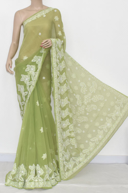 Menhdi Green Hand Embroidered Lucknowi Chikankari Saree (With Blouse - Georgette) 14419