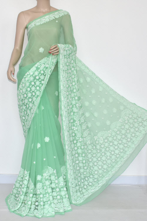 Pista Green Hand Embroidered Lucknowi Chikankari Saree (With Blouse - Georgette) Rich Border and Pallu 14423