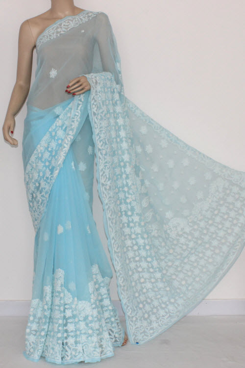 Sky Blue Designer Hand Embroidered Lucknowi Chikankari Saree (With Blouse - Georgette) 14427