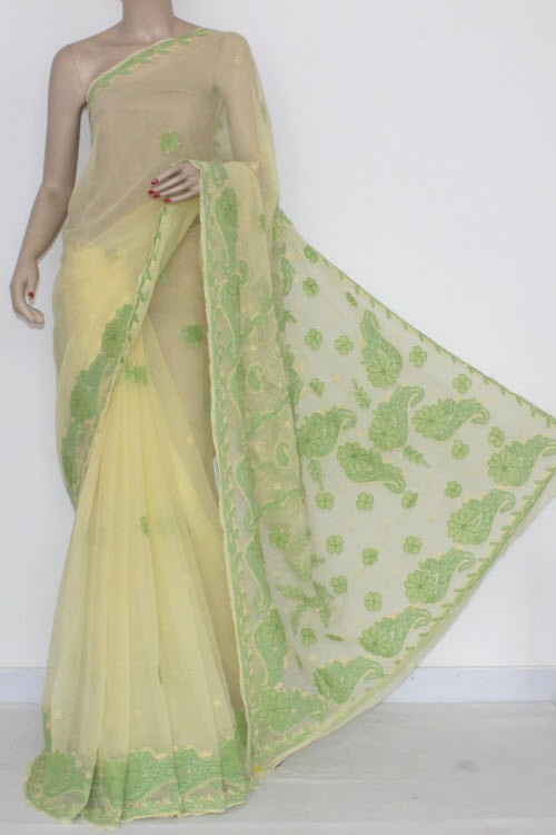 Cream Yellow Designer Hand Embroidered Lucknowi Chikankari Saree (With Blouse - Georgette) 14428