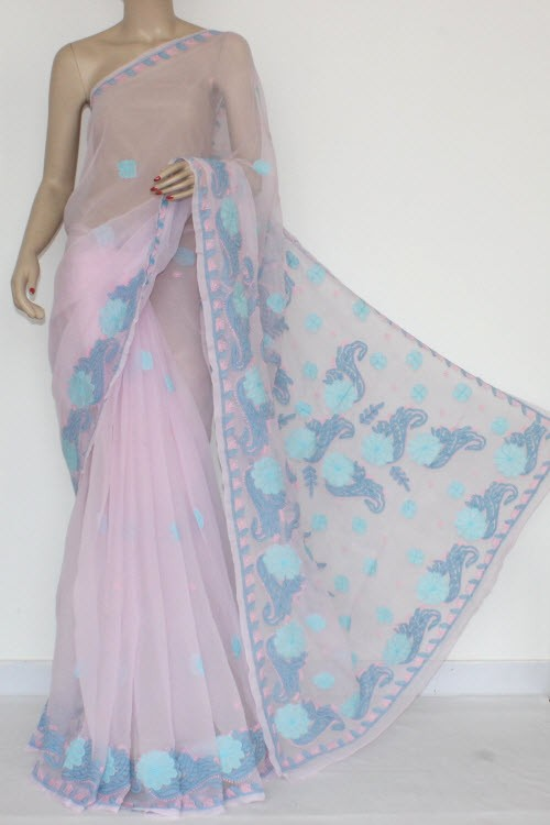 Baby Pink Designer Hand Embroidered Lucknowi Chikankari Saree (With Blouse - Georgette) 14429