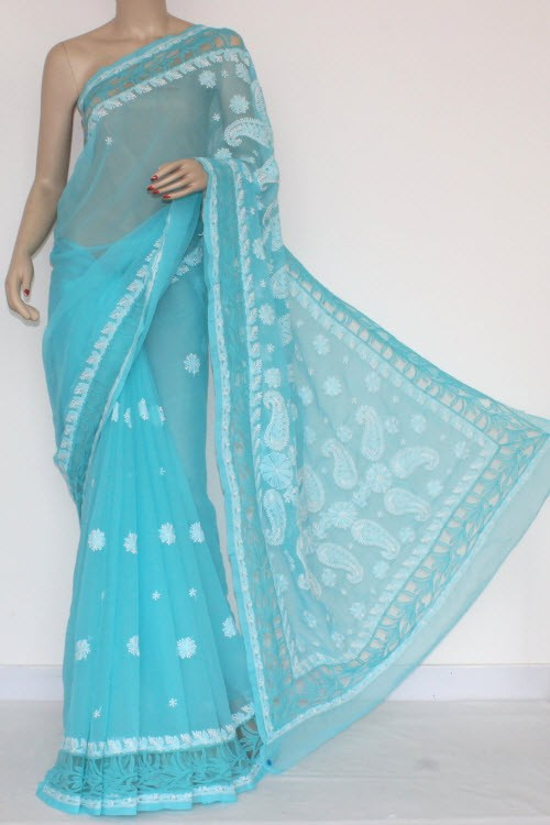 Pherozi Designer Hand Embroidered Lucknowi Chikankari Saree Net Border (With Blouse - Georgette) 14432