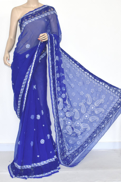 Royal Blue Designer Hand Embroidered Lucknowi Chikankari Saree Net Border (With Blouse - Georgette) 14433