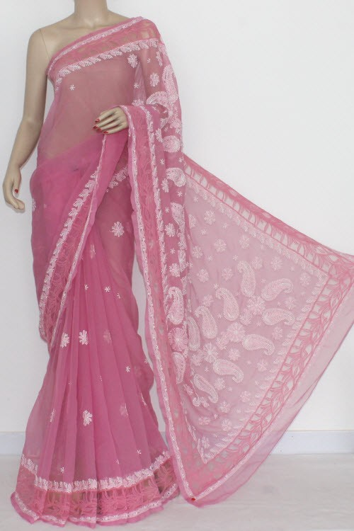 Onion Color Designer Hand Embroidered Lucknowi Chikankari Saree Net Border (With Blouse - Georgette) 14434