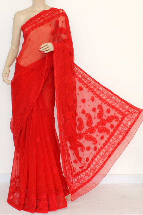 Red Color Designer Hand Embroidered Lucknowi Chikankari Saree Net Border (With Blouse - Georgette) 14435