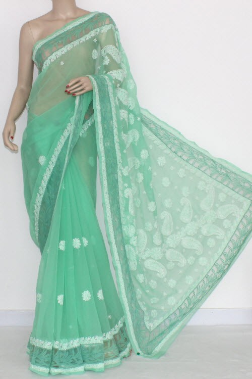 Pista Green Designer Hand Embroidered Lucknowi Chikankari Saree Net Border (With Blouse - Georgette) 14436