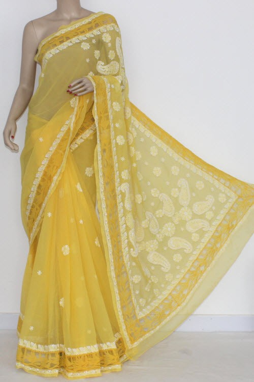Golden Yellow Designer Hand Embroidered Lucknowi Chikankari Saree Net Border (With Blouse - Georgette) 14437