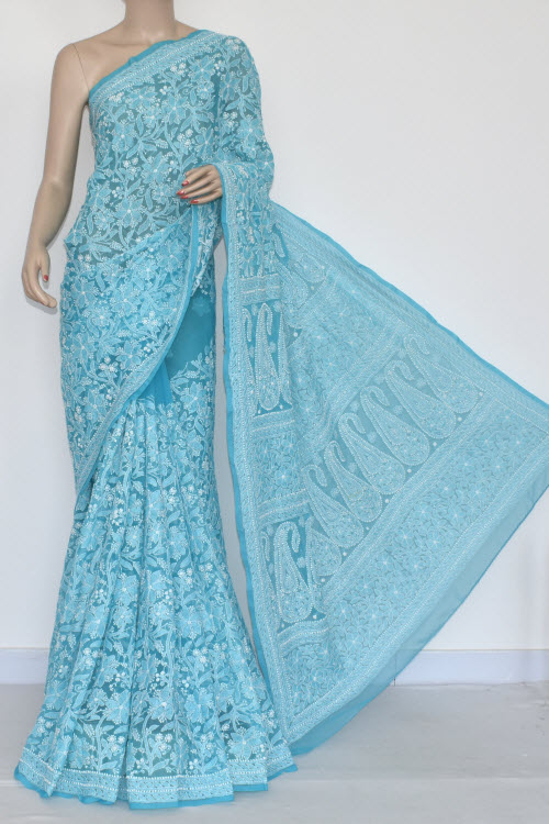 Pherozi Blue Allover Hand Embroidered Lucknowi Chikankari Saree (With Blouse - Georgette) 14442