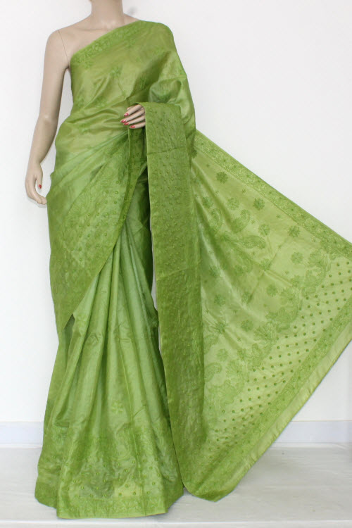 Menhdi Green Hand Embroidered Lucknowi Chikankari Silk Saree (With Blouse) 14443
