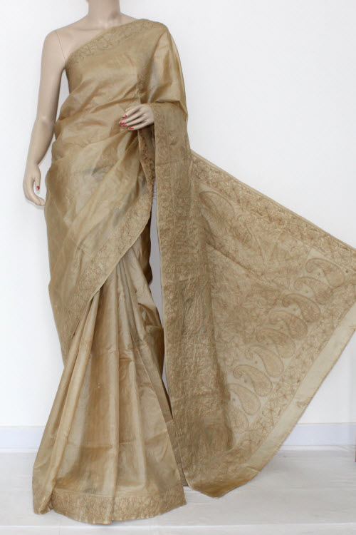 Biscuit Color Hand Embroidered Lucknowi Chikankari Silk Saree (With Blouse) 14444