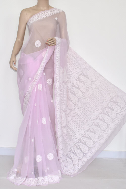 Baby Pink Hand Embroidered Lucknowi Chikankari Saree (With Blouse - Georgette) 14446