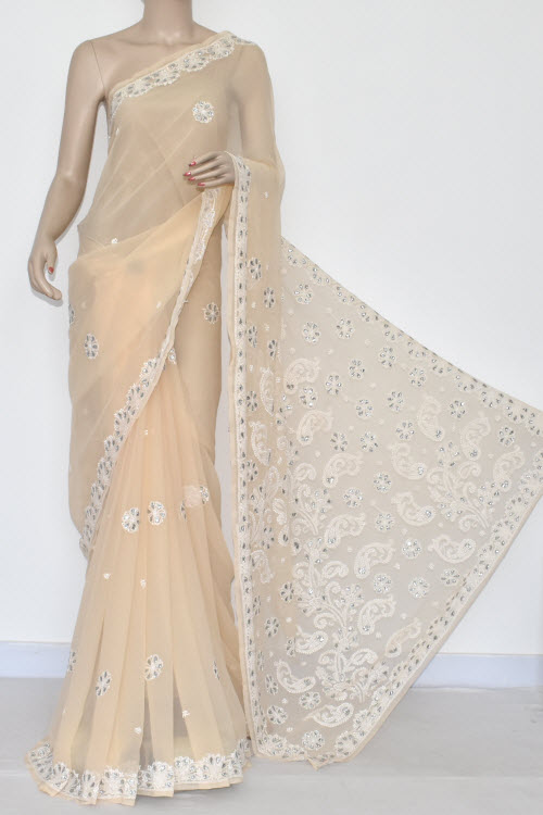 Fawn Hand Embroidered Lucknowi Chikankari Saree (With Blouse - Georgette) Gota-Patti Work 14447