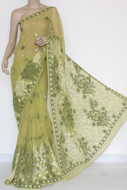 Menhdi Green Hand Embroidered Lucknowi Chikankari Saree (With Blouse - Georgette) 14453