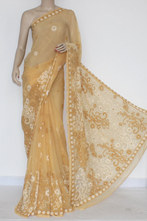 Fawn Hand Embroidered Lucknowi Chikankari Saree (With Blouse - Georgette) 14454