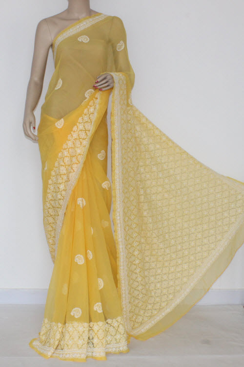 Yellow Hand Embroidered Lucknowi Chikankari Saree (With Blouse - Georgette) 14461