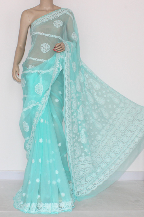 Sea Green Hand Embroidered Lucknowi Chikankari Saree (With Blouse - Georgette) 14462