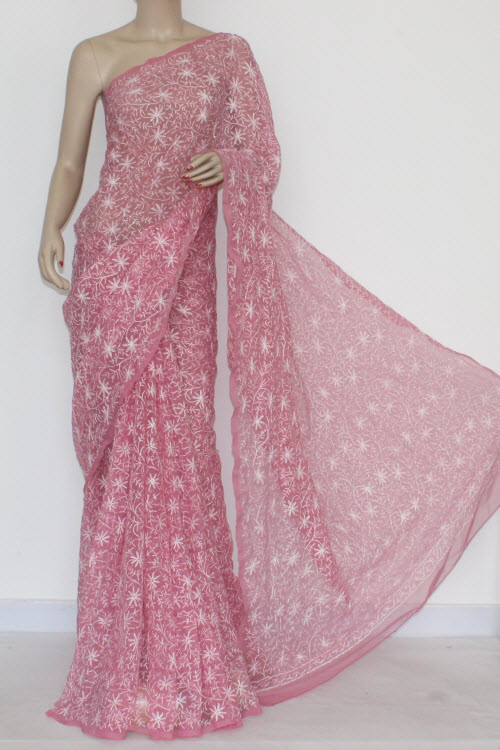 Move Hand Embroidered Allover Tepchi Work Lucknowi Chikankari Saree (With Blouse - Georgette) 14465