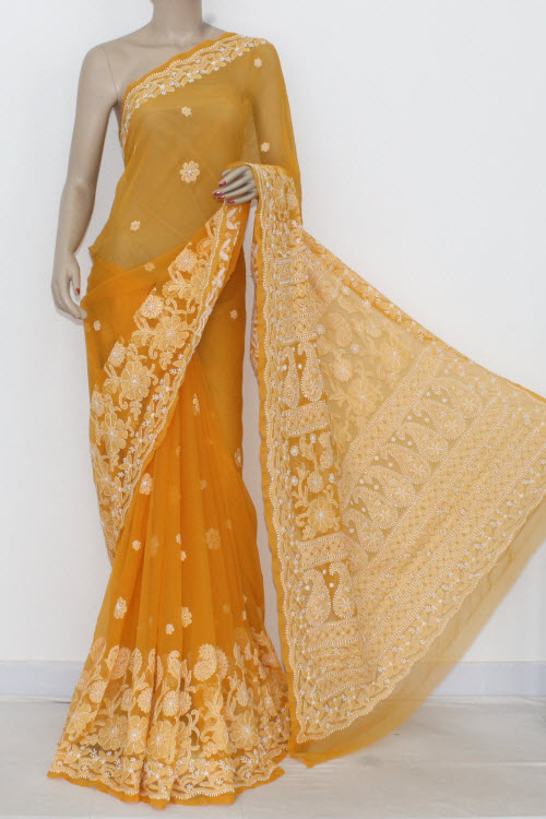 Mustared Hand Embroidered Lucknowi Chikankari Saree (With Blouse - Georgette) Heavy Border & Pallu 14470