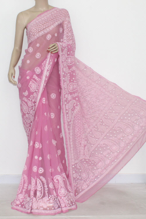 Pink Hand Embroidered Lucknowi Chikankari Saree (With Blouse - Georgette) 14471