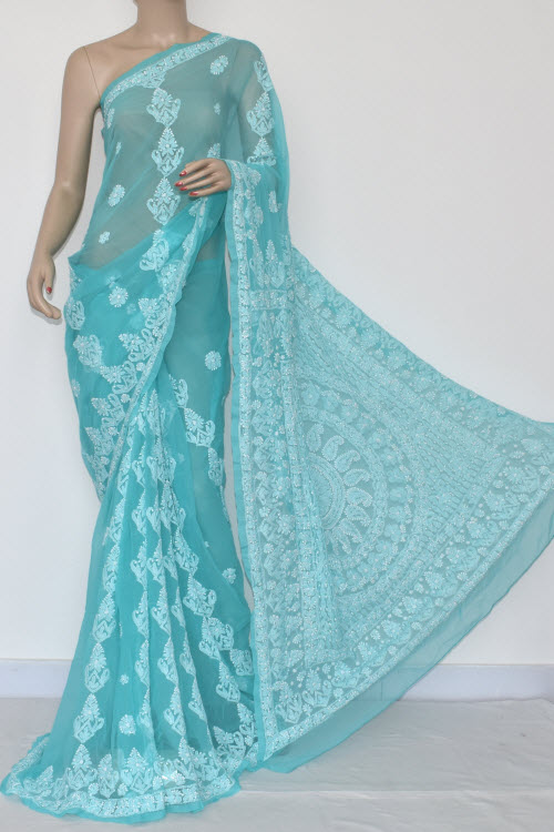 Pherozi Blue Hand Embroidered Lucknowi Chikankari Saree (With Blouse - Georgette) 14473