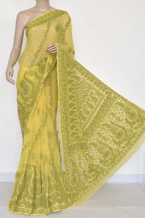 Yellow Hand Embroidered Lucknowi Chikankari Saree (With Blouse - Georgette) 14476