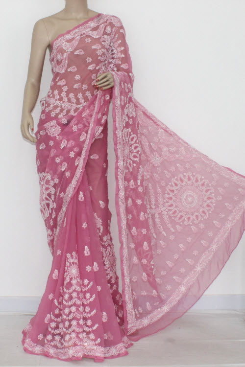 Onion Color Hand Embroidered Lucknowi Chikankari Saree (With Blouse - Georgette) Heavy Border & Pallu 14491