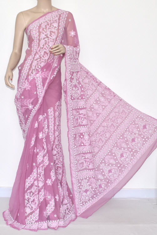 Onion Designer Hand Embroidered Lucknowi Chikankari Saree (With Blouse - Georgette) 14494