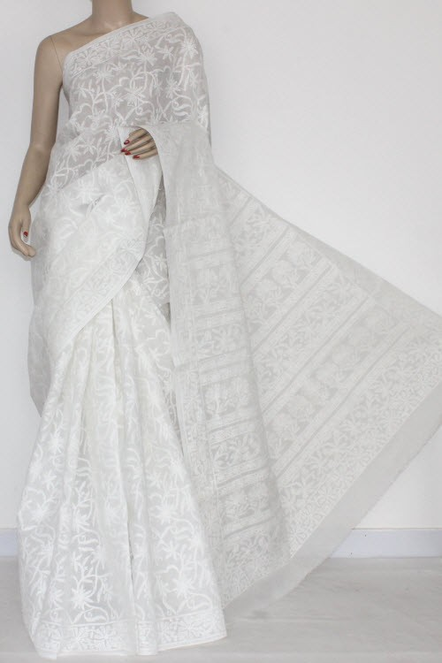 White Allover Hand Embroidered Lucknowi Chikankari Saree (With Blouse - Cotton) 14496