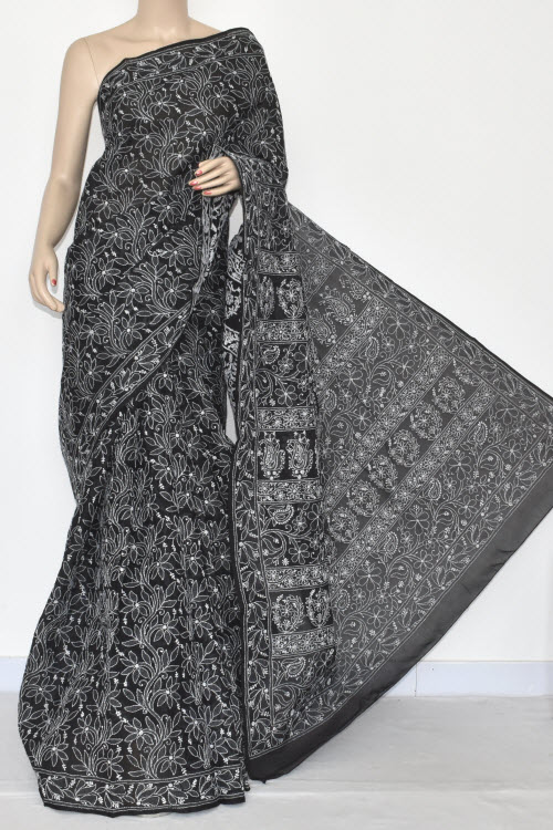 Black Allover Hand Embroidered Lucknowi Chikankari Saree (With Blouse - Cotton) 14498