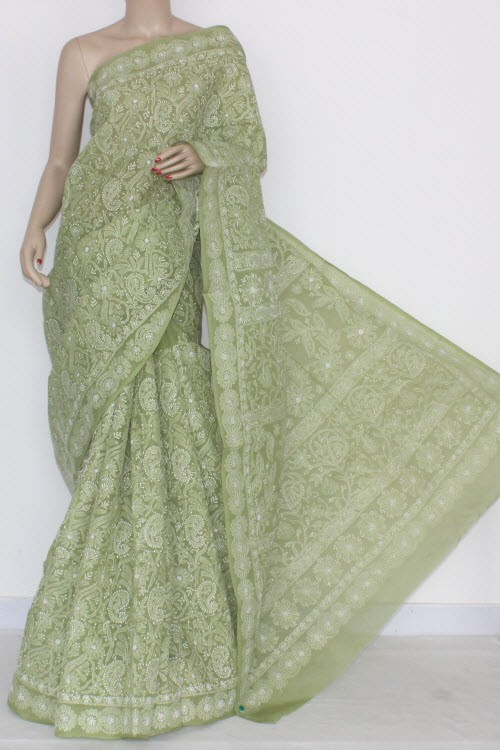 Menhdi Green Allover Hand Embroidered Lucknowi Chikankari Saree (With Blouse - Cotton) 14501